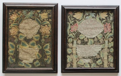 A pair of George II silkwork samplers decorated with flower heads and leaves also depicting the Lords Prayer and religious text. Sold for £2,000 at Anthemion Auctions