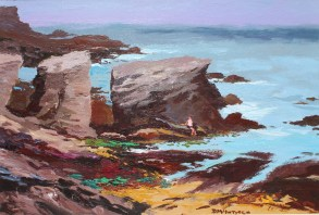 Donald McIntyre - Rocky Shore Anglesey No. 1, Oil on board. Sold at Anthemion Auctions for £3,800
