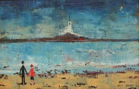 Jack Jones - A beach scene with a lighthouse in the distance. Oil on board. Sold at Anthemion Auctions for £1,700