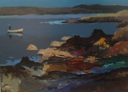 Donald McIntyre - Sunlit rocks and a boat. Oil on board. Sold at Anthemion Auctions for £1,400