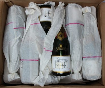 A case of Bollinger Champagne Brut vintage 1975. Sold for £1,650 at Anthemion Auctions