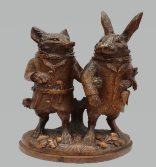 Black Forest Treen figure of a Fox and Hare - Sold at Anthemion Auctions for £14,000