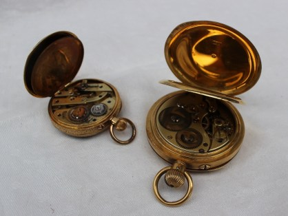 An 18ct yellow gold open faced pocket watch the circular enamel dial with Roman numerals and a seconds subsidiary dial, together with an 18k yellow metal fob watch, with Roman numerals. Sold for £880 at Anthemion Auctions