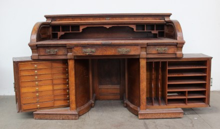 A late Victorian mahogany and walnut roll top desk - W. Stalschmidt & Co. manufacturers, Preston, Ontario, Canada. Sold for £1,300 at Anthemion Auctions