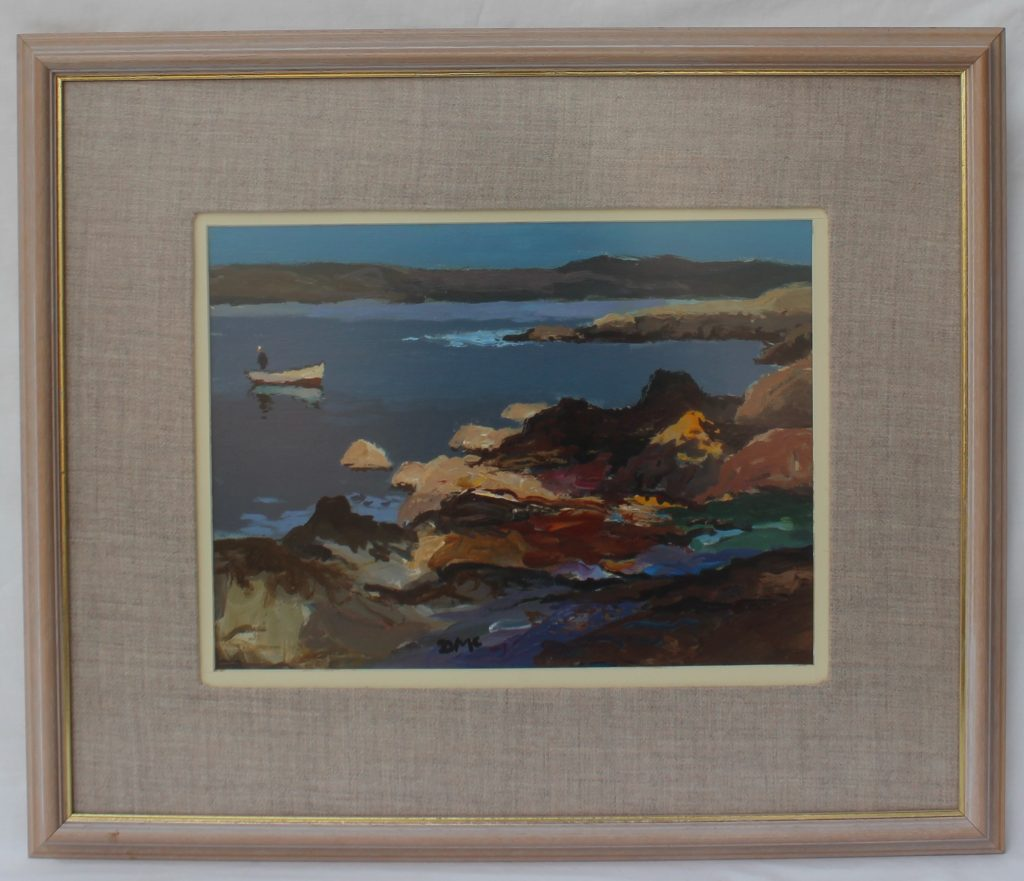 Donald McIntyre, Two cobbles Craster, Oil on board, 29 x 39cm sold for £1,700.00