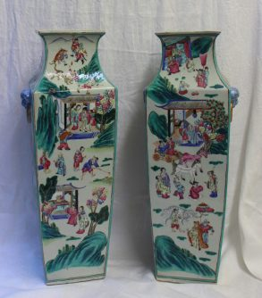 A pair of 19th century Chinese porcelain vase, of square tapering form, decorated with figures in interiors and landscapes, 57cm high