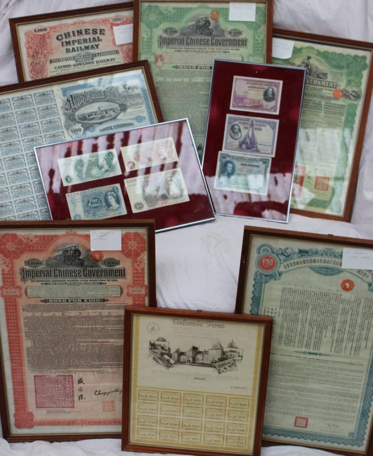 Chinese Government 6% Sterling Shanghai Hangchow Ninpo Railway completion loan of the 25th year of the republic of China. Sold for £270 at Anthemion Auctions