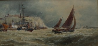 """Thomas Bush Hardy 1842-1897 """"Off Scarboro"""" Watercolour Signed and dated 1890 23 x 46cms"""