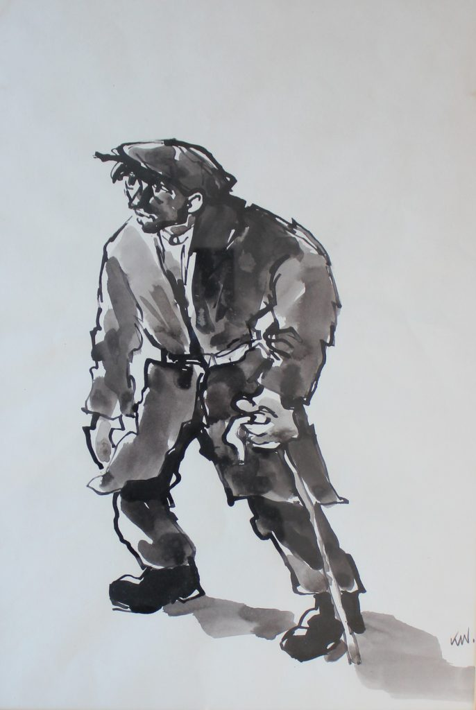 Sir Kyffin Williams - A Farmer with a walking stick Watercolour initialed. Sold for £3,500 at Anthemion Auctions
