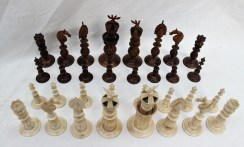 A 19th century Anglo Indian ivory chess set, natural and stained brown. Sold for £1,400 at Anthemion Auctions