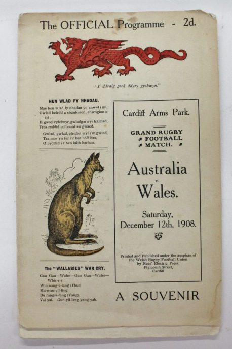 The First Wallabies Tour to The British Isles. A 1908 Wales V Australia rugby match programme. Sold for £600 at Anthemion Auctions