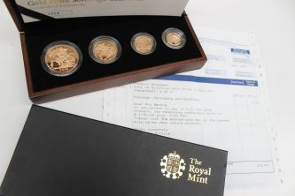 A Royal Mint 2008 United Kingdom Gold Proof Sovereign Collection No.1404 / 1750 comprising a gold Five pounds coin, a Double sovereign, a Sovereign and a Half Sovereign, contained in original box and sleeve with certificate of authenticity. Sold for £1,450 at Anthemion Auctions