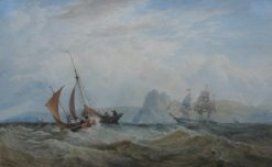 Edward Duncan, RWS 1803-1883 - Shipping off the Great Torr, Gower, Swansea, Watercolour. Signed and dated 1864 Newman Fine Art Gallery label verso 24 x 38.5cm. Sold for £920 at Anthemion Auctions
