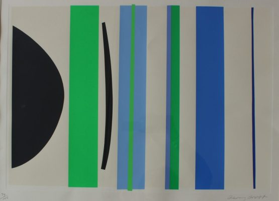 Blue and Green Verticals Limited edition Silkscreen print, No.34/150 Signed in pencil to the margin 44 x 62cm. Sold for £1,200 at Anthemion Auctions