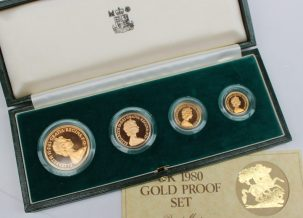 An Elizabeth II 1980 United Kingdom gold proof four-coin set, comprising a five pounds, two pounds, sovereign and half sovereign, in original case. Sold for £1,350 at Anthemion Auctions