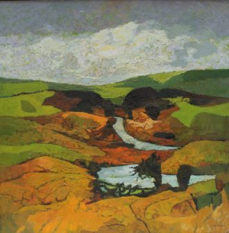 John Elwyn - In the Hills, Oil on canvas. Signed and inscribed verso 75 x 75 cm. Sold for £3,000 at Anthemion Auctions