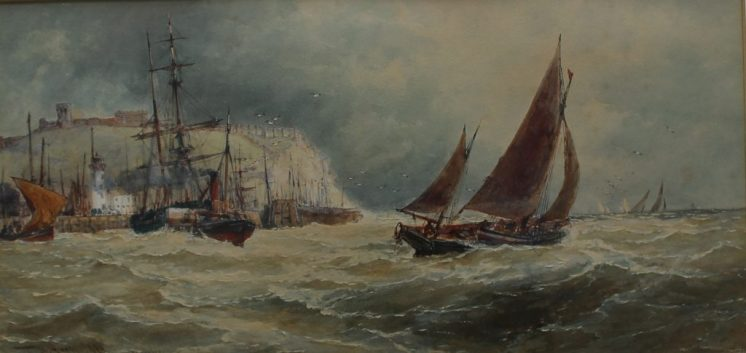 "Thomas Bush Hardy 1842-1897 - ""Off Scarboro"", Watercolour. Signed and dated. 1890 23 x 46cms. Sold for £800 at Anthemion Auctions"