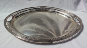 An Edward VII silver tray of pierced oval form, decorated with scrolling leaves, Sheffield, 1902,William Mammatt & Son, approximately 2600 grams. Sold for £800 at Anthemion Auctions