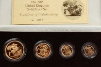 The 1985 United Kingdom Gold Proof Set, No.02793, comprising gold five pound coin, gold two pound coin, gold sovereign and gold half sovereign, in original case and sleeve with certificate. Sold for £1,370 at Anthemion Auctions