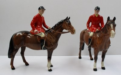 A Beswick figure of a huntsman on a bay horse, together with another similar. Sold for £140 at Anthemion Auctions