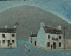 Jack Jones - A street scene with a mountain beyond, Oil on panel. Signed and dated '86 19 x 24.5cm