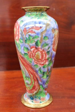 """A Wedgwood porcelain lustre vase designed by Daisy Makeig-Jones, of ovoid form decorated in the """"Argus Pheasant"""" pattern, printed mark and painted Z5486, 26.5cm high. Sold for £900 at Anthemion Auctions"""