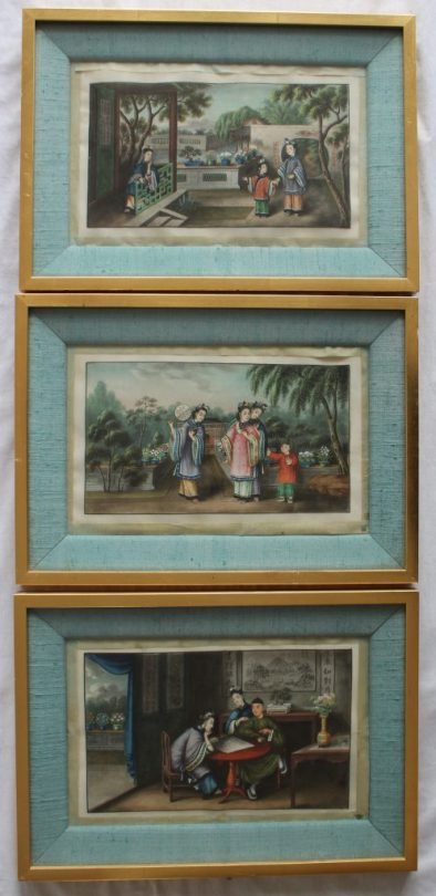 20th century Chinese School - Courtesans in a garden, Watercolour on rice paper. 17 x 29cm Together with two others similar. Sold for £2,000 at Anthemion Auctions