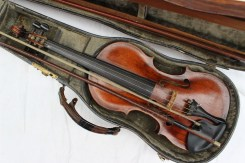 A violin with one piece back and ebony stringing, bears a label for Joseph Hill. Sold for £270 at Anthemion Auctions