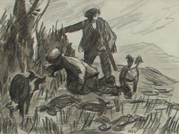 Sir Kyffin Williams, 1918-2006 - Rabbiting Pencil Sketch Initialed. Sold for £3,000 at Anthemion Auctions