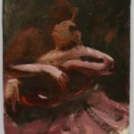 Kevin Sinnott - Study for Fragile Night, Oil on board. Initialled, Bernard Jacobson Gallery labels verso 31.8 x 25.4cm. Sold for £230 at Anthemion Auctions