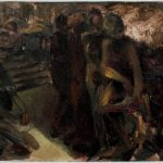 Kevin Sinnott - Figures by steps, Oil on board. Initialled, Bernard Jacobson Gallery labels verso 18.5 x 28cm. Sold for £140 at Anthemion Auctions