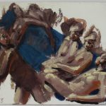 Kevin Sinnott - Figural studies on blue, Oil on board. Initialled Bernard Jacobson Gallery labels verso 21 x 26cm. Sold for £310 at Anthemion Auctions