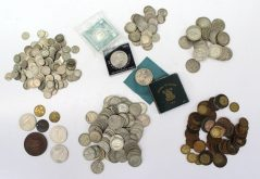 A collection of pre decimal coins including six pences, half crowns, Shillings, Florins, Crowns etc