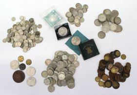 A collection of pre decimal coins including six pences, half crowns, Shillings, Florins, Crowns etc