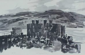 "Sir Kyffin Williams R.A. (British, 1918-2006) Conwy Castle Signed ""Kyffin W"" in pencil (centrally) An Artists proof print. Sold for £270 at Anthemion Auctions"