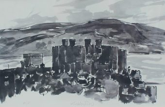 """Sir Kyffin Williams R.A. (British, 1918-2006) Conwy Castle Signed """"Kyffin W"""" in pencil (centrally) An Artists proof print. Sold for £270 at Anthemion Auctions"""