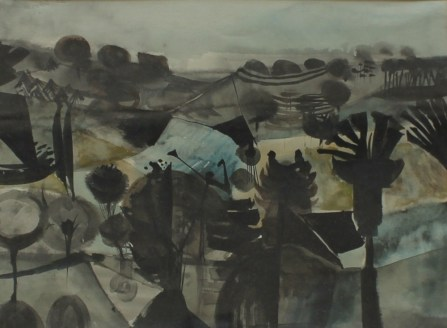 Alan Reynolds - Pastoral, 1952 Watercolour Signed and dated The Redferm Gallery label verso 27 x 36.5cm. Sold for £1,650 at Anthemion Auctions