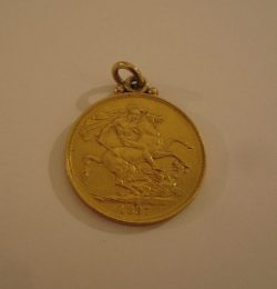 A late Victorian gold two pound coin dated 1887 with ring mount Sold for £420 at Anthemion Auctions