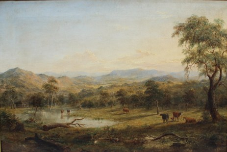 Henry Gritten (1818-1873) - A Landscape scene with cattle watering Oil on canvas Signed and dated 1868 40 x 60cm. Sold for £3,200 at Anthemion Auctions