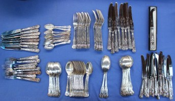 An Elizabeth II silver matched Kings Pattern part flatware service comprising eight fish forks, eight fish knives, eight table knives, sixteen side knives, seven soup spoons, two serving spoons, eight table forks, sixteen dessert spoons, twenty five dessert spoons and thirteen tea spoons, approximately 4800 grams. Sold for £1,700 at Anthemion Auctions