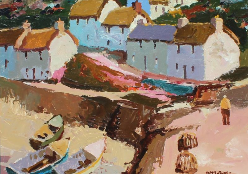 Donald McIntyre - Above the harbour, Oil on board. Signed and label verso. Sold for £7,800 at Anthemion Auctions