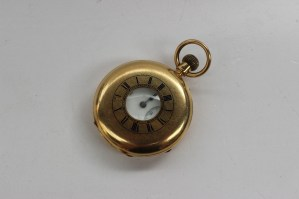 "An 18ct yellow gold keyless wound half hunter pocket watch, the enamel dial with Roman numerals and seconds subsidiary dial inscribed ""J. Arnold Lake, London, 278"", initialled to the reverse. Sold for £1,350 at Anthemion Auctions"