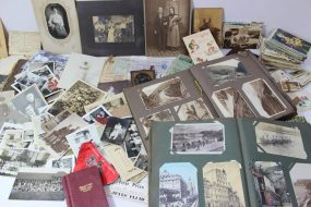 Circa 500 postcards, loose and in albums including Cunard White Star liners, scenic cards, including Dumfries, St Andrews, Dundee, Loch Lomond, Aberdeen, Skegness, photographic cards and assorted photographs etc. Sold for £310 at Anthemion Auctions