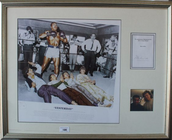 """A montage for Muhammad Ali titled """"Yesterday"""", signed, framed and glazed. Sold for £260 at Anthemion Auctions"""