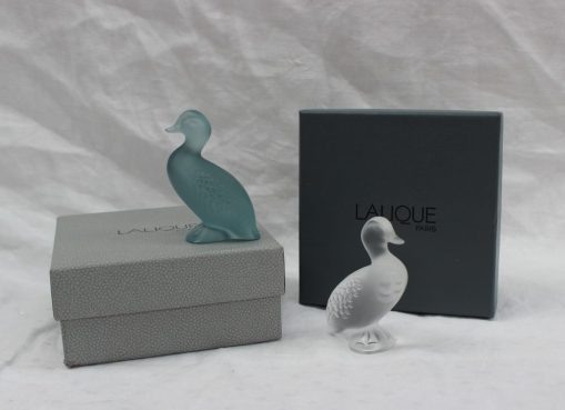 Two Lalique glass ducks, signed to the base. Two Lalique glass ducks, signed to the base