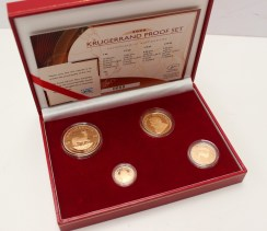 A 2006 Krugerrand set, no 80/700, comprising a Krugerrand, 1/2 Krugerrand, 1/4 Krugerrand and 1/10 Krugerrand in original box with certificate issued by the SA Mint (boxed). Sold for £1,620 at Anthemion Auctions