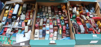 A large quantity of Dinky, Corgi and Matchbox toy cars, truck, military vehicles, ships etc, together with Hornby carriages, castle, Triang Minic motorway track and cars etc. Sold for £580 at Anthemion Auctions