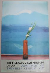 """Portrait of an Artist (pool with two figures) A Poster for the Metropolitan Museum of Art 76 x 94cm Together with two others ""The set for Parade, 1980"", for Riverside Studios, 99 x 68.5cm and ""Mount Fuji and Flowers"" for the Metropolitan Museum of Art, 91 x 61cm. Sold for £200 at Anthemion Auctions"