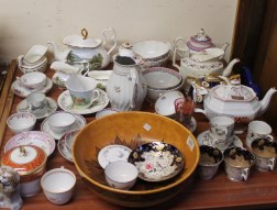 A Chameleon ware pottery bowl together with 18th century porcelain teapots, scenic painted tea set, 18th century tea bowls and saucers, etc