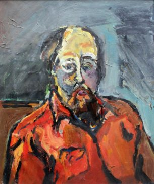 Peter Prendergast - Self portrait in red, Oil on paper. Label verso 48 x 40.5cm Mostyn Art Gallery and Albany labels verso. Sold for £2,200 at Anthemion Auctions